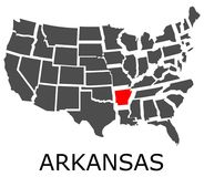 State of Arkansas on map of USA Stock Photography