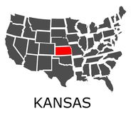 State of Kansas on map of USA Royalty Free Stock Images