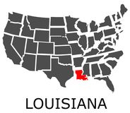 State of Louisiana on map of USA Stock Image