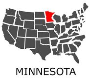State of Minnesota on map of USA Stock Images