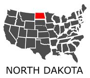 State of North Dakota on map of USA Royalty Free Stock Photography