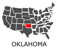 State of Oklahoma on map of USA Royalty Free Stock Photography