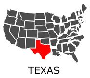 State of Texas on map of USA Royalty Free Stock Photos