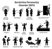 Borderline personality disorder BPD signs and symptoms. Illustrations depict a woman with mental health disorder having difficulty in life and relationship stock illustration