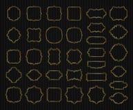 Borders And Frames Golden Collection, Gold Elegant Decorative Dashed Vignette Sign Stock Images