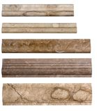 Borders for backsplash. Set of borders stone marble isolated on white background stock photos
