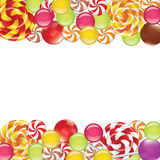 Borders with candies and lollipops Royalty Free Stock Image