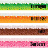 Borders of carbonated beverages. Vector set Stock Images