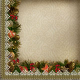 Borders of Christmas decorations with lace on vintage background Royalty Free Stock Images