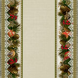 Borders of Christmas decorations with lace on vintage background Royalty Free Stock Image