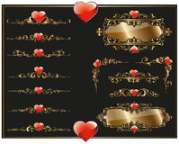 Borders and corners with hearts Royalty Free Stock Photo