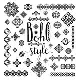 Borders and decoration ethnic signs with Boho style hand drawn lettering on white. Border and decoration ethnic signs set with Boho style hand drawn lettering Stock Photography