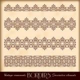Borders decorative elements. Retro style set. Royalty Free Stock Image