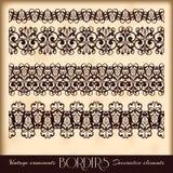 Borders decorative elements. Retro style set. Royalty Free Stock Images