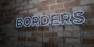 BORDERS - Glowing Neon Sign on stonework wall - 3D rendered royalty free stock illustration Royalty Free Stock Photos