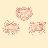Borders. Hand drawn hearts doodle scetch Stock Images