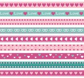 Borders with hearts. Seamless funny borders with hearts Stock Photo