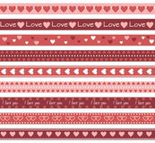 Borders with hearts. Seamless romantic border lines  with hearts Stock Image