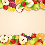 Borders made of delicious fruits. Royalty Free Stock Photography