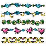 Borders with moon hearts and diamonds Stock Photography