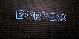 BORDERS -Realistic Neon Sign on Brick Wall background - 3D rendered royalty free stock image Royalty Free Stock Photos