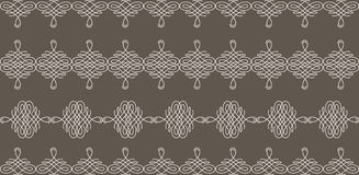 Borders set collection in calligraphic retro style in beige color isolated on brown background. Royalty Free Stock Photography