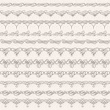 Borders set collection in calligraphic retro style isolated on beige background. Stock Images