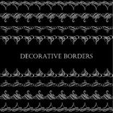 Borders set collection in calligraphic retro style isolated on black background. Royalty Free Stock Photography