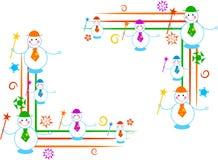 borders snowmanen royaltyfri illustrationer