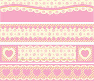 Borders With Victorian Eyelet Hearts and Stripes. Four borders with Victorian eyelet hearts and stripes in pink, gold & ecru Stock Images