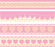 Borders With Victorian Eyelet Hearts and Stripes royalty free stock images