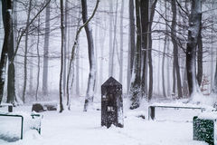 Borderstone in the snow Stock Image