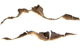 Bordes de papel quemados fijados aislados Imágenes de archivo libres de regalías