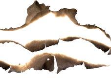 Bordes de papel quemados fijados aislados en blanco Fotos de archivo