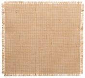 Bordes rasgados tela de la arpillera, modelo del paño de saco aislado fotografía de archivo libre de regalías