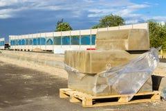 Bordi concreti, costruzione della strada di esclusione Fotografie Stock Libere da Diritti
