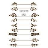 Bordi decorativi Insieme d'annata disegnato a mano del confine con le foglie, rami Immagine Stock