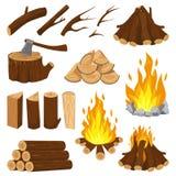 Bordi della legna da ardere Legno del fuoco del camino, pila di legno bruciante e falò ardente Fuoco di accampamento che registra royalty illustrazione gratis