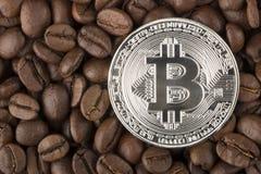 Bordi di Bitcoin dell'oro dal chicco di caffè Fotografia Stock Libera da Diritti