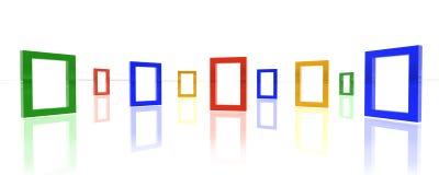 Bordi di colore sulla priorità bassa bianca dello specchio Fotografia Stock Libera da Diritti