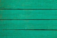 Bordi di legno dipinti con pittura verde Fotografie Stock Libere da Diritti