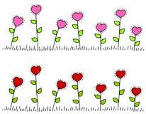 Bordi a forma di del fiore del cuore rosa-rosso Immagine Stock