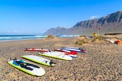 Bordi praticanti il surfing sulla spiaggia di Famara Immagine Stock