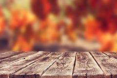 Bordi rustici di legno davanti al fondo della vigna in autunno aspetti per l'esposizione del prodotto Immagine Stock Libera da Diritti