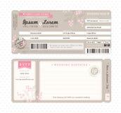 Bordkarte-Hochzeits-Einladungs-Schablone Lizenzfreie Stockfotografie