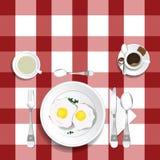 Bordlägga för lunch med äggillustrationuppsättning en royaltyfri illustrationer