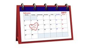 Bordlägga kalendern som visar datumet 14th Februari, valentindagen Fotografering för Bildbyråer