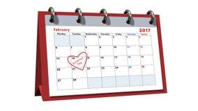 Bordlägga kalendern som visar datumet 14th Februari, valentindagen Arkivbilder