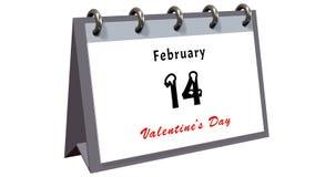 Bordlägga kalendern som visar datumet 14th Februari, valentindagen Royaltyfri Fotografi