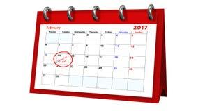 Bordlägga kalendern som visar datumet 14th Februari, valentindagen Royaltyfri Foto